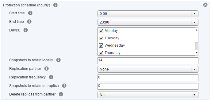 vSphere Web Client VM Storage Policy with Nimble Storage protection schedule