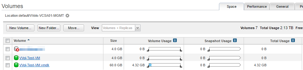 Nimble Storage array UI VVol VM volumes