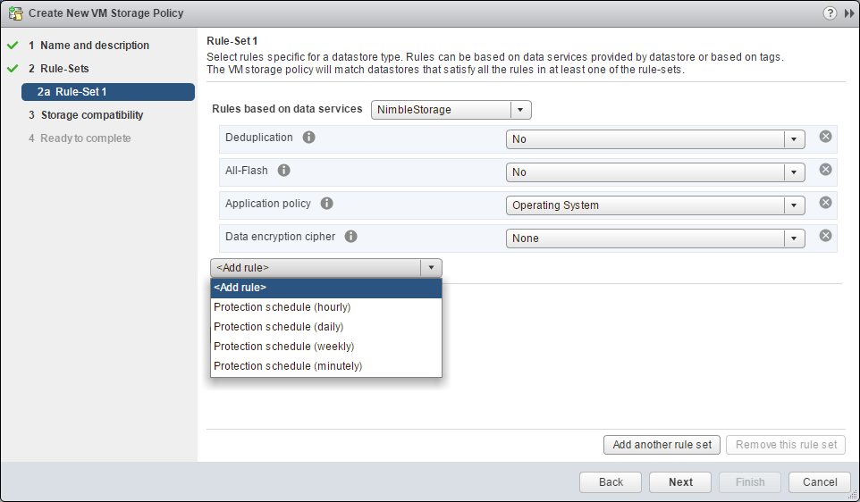 vSphere Web Client VM Storage Policy with Nimble Storage integration