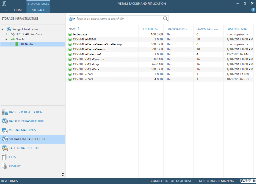 Veeam Integration with Nimble: Restore from Snapshot