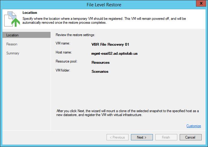 Veeam File Level Restore wizard
