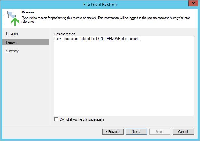 Veeam File Level Restore: Reason
