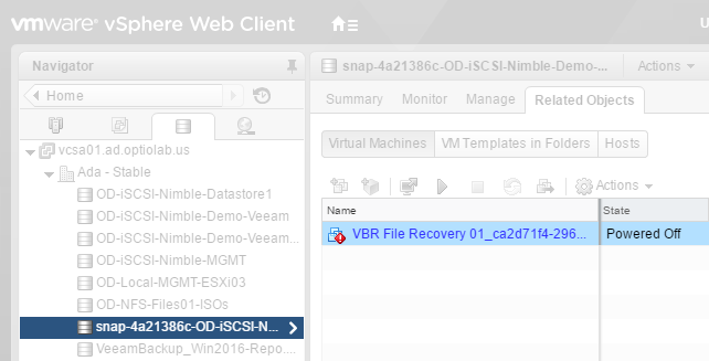 vCenter inventory--snapshot and restored VM