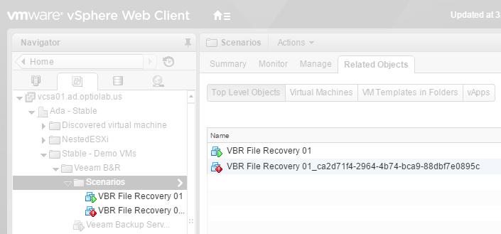 vCenter inventory: original and restored VM