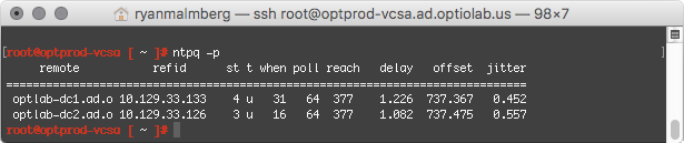 Output of ntpq -p from VCSA